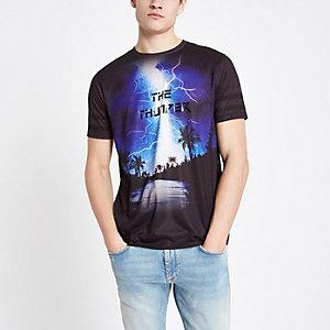 T-shirt slim noir avec motif tonnerre à strass