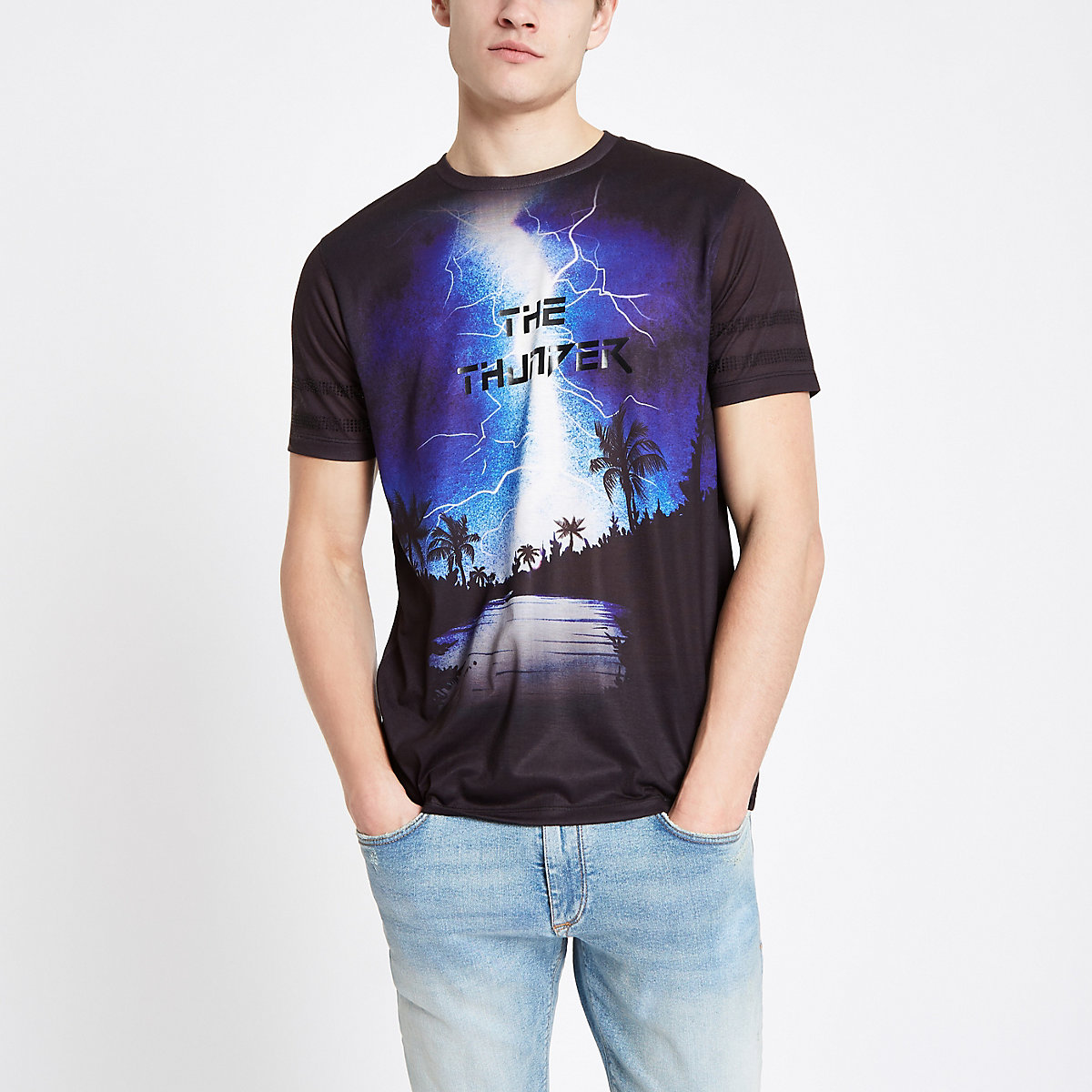 Black thunder rhinestone slim fit T-shirt
