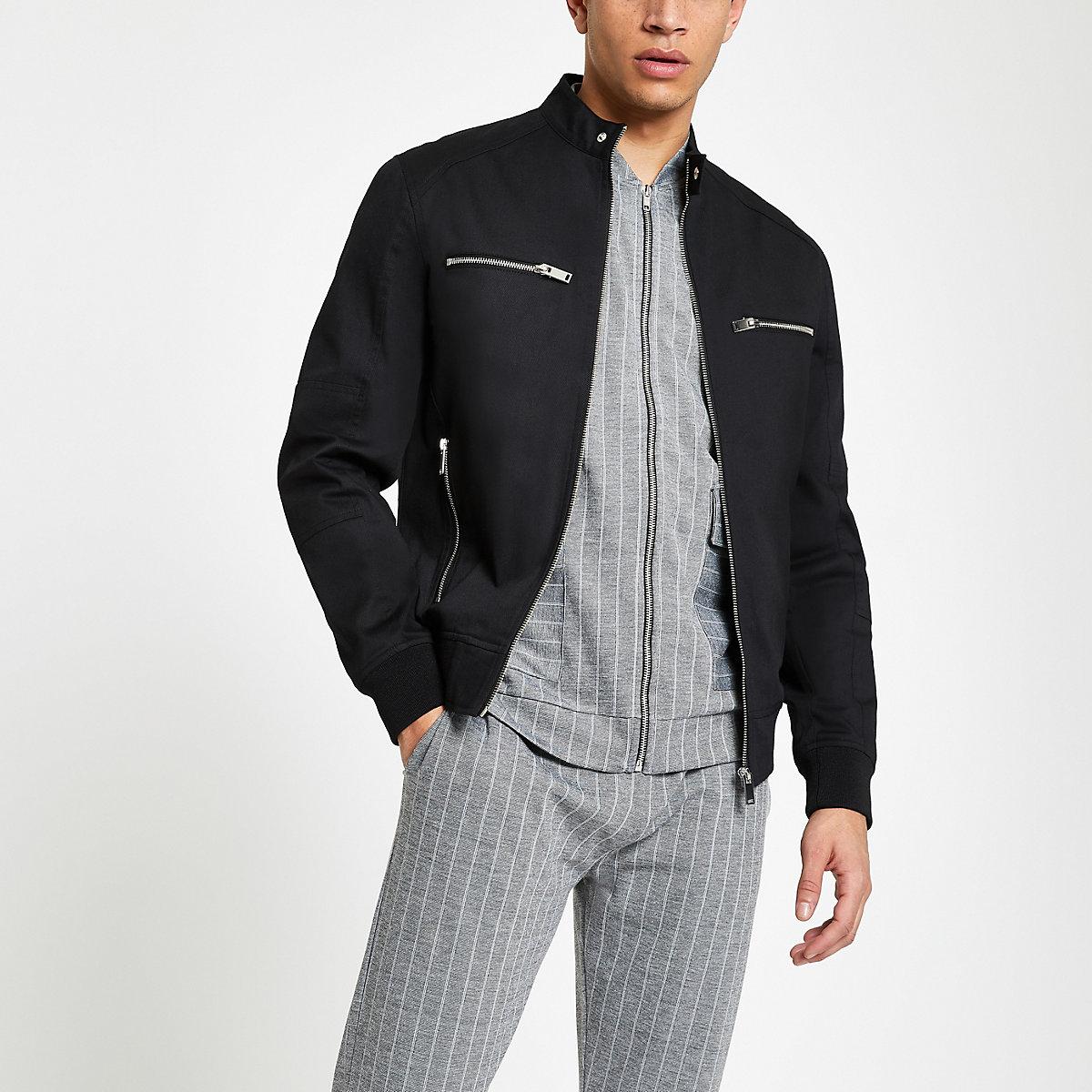 Black zip front racer jacket