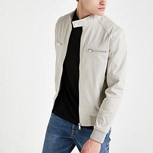 Graue Jacke mit Reißverschluss