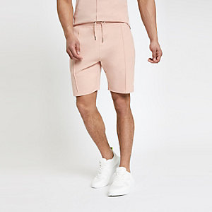 Pink slim fit jersey shorts