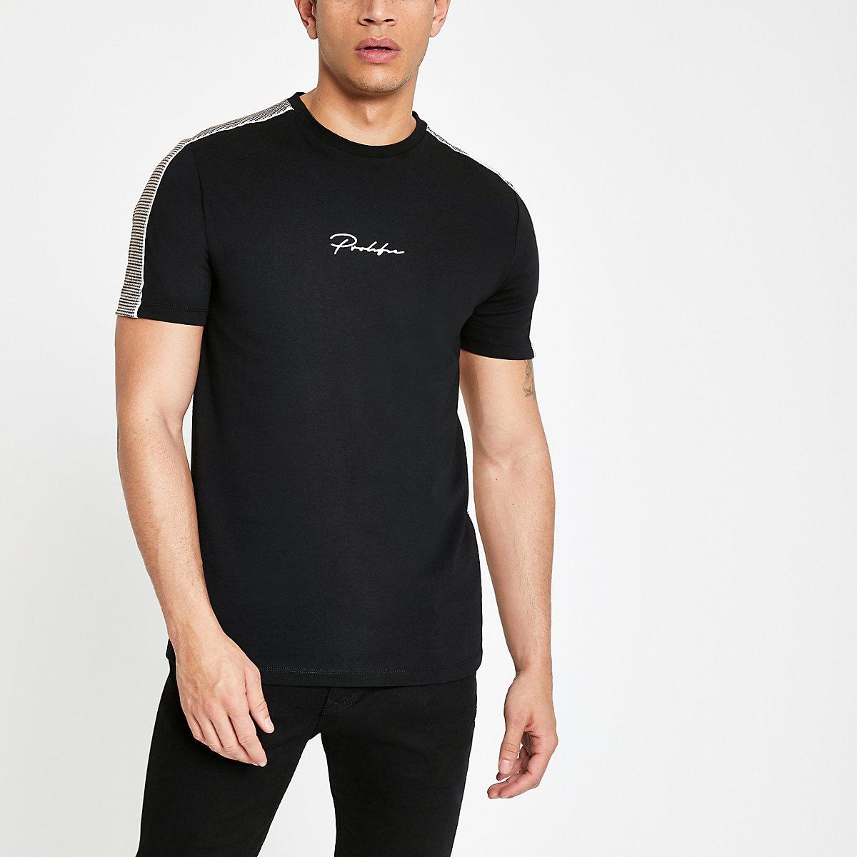 Black slim fit 'Prolific' check back T-shirt