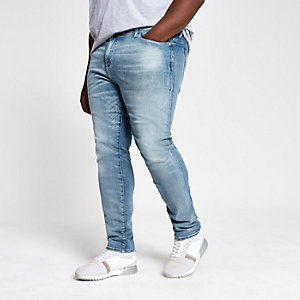 Big and Tall mid blue skinny jeans