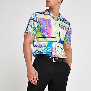 Groen overhemd met revers, korte mouwen en verschillende prints