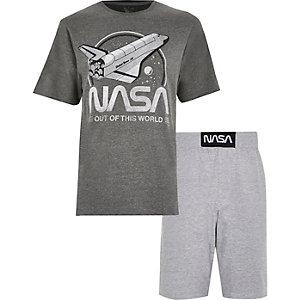 Marineblauw slim-fit jersey overhemd met knopen