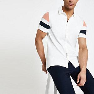 Ecru gestreept overhemd met knopen