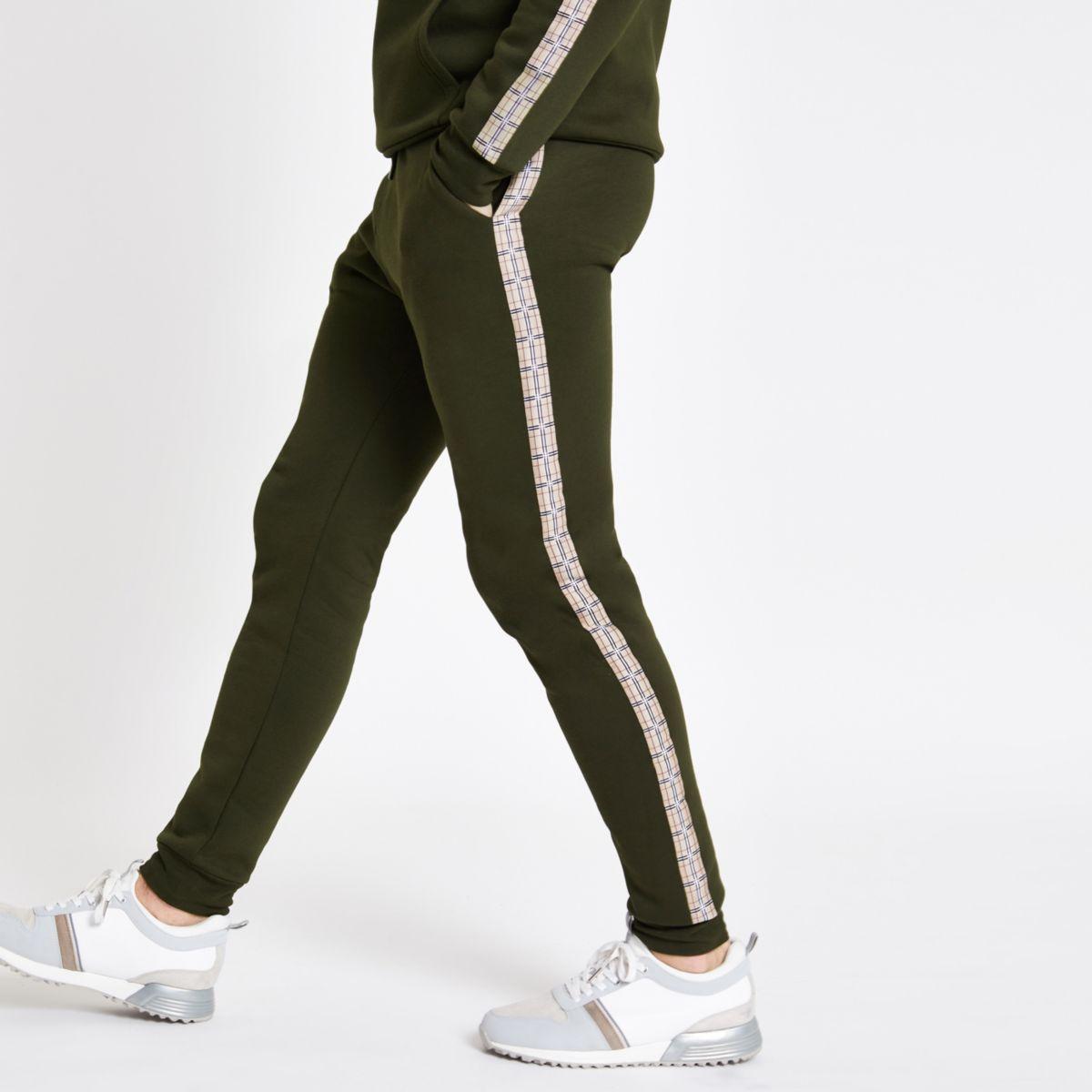 Khaki slim fit check print tape joggers