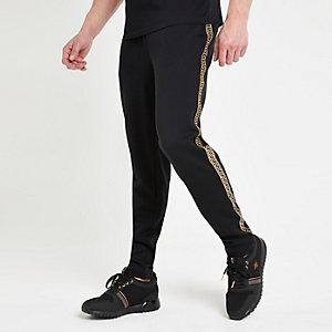 Black printed tape slim fit joggers