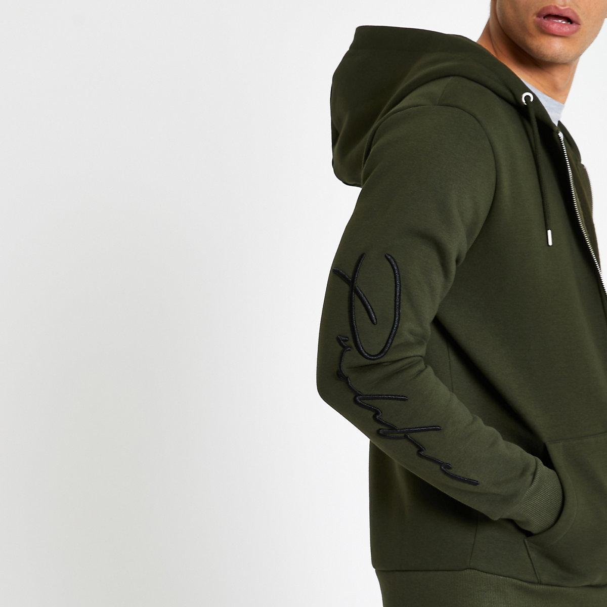 Khaki slim fit 'Prolific' zip front hoodie