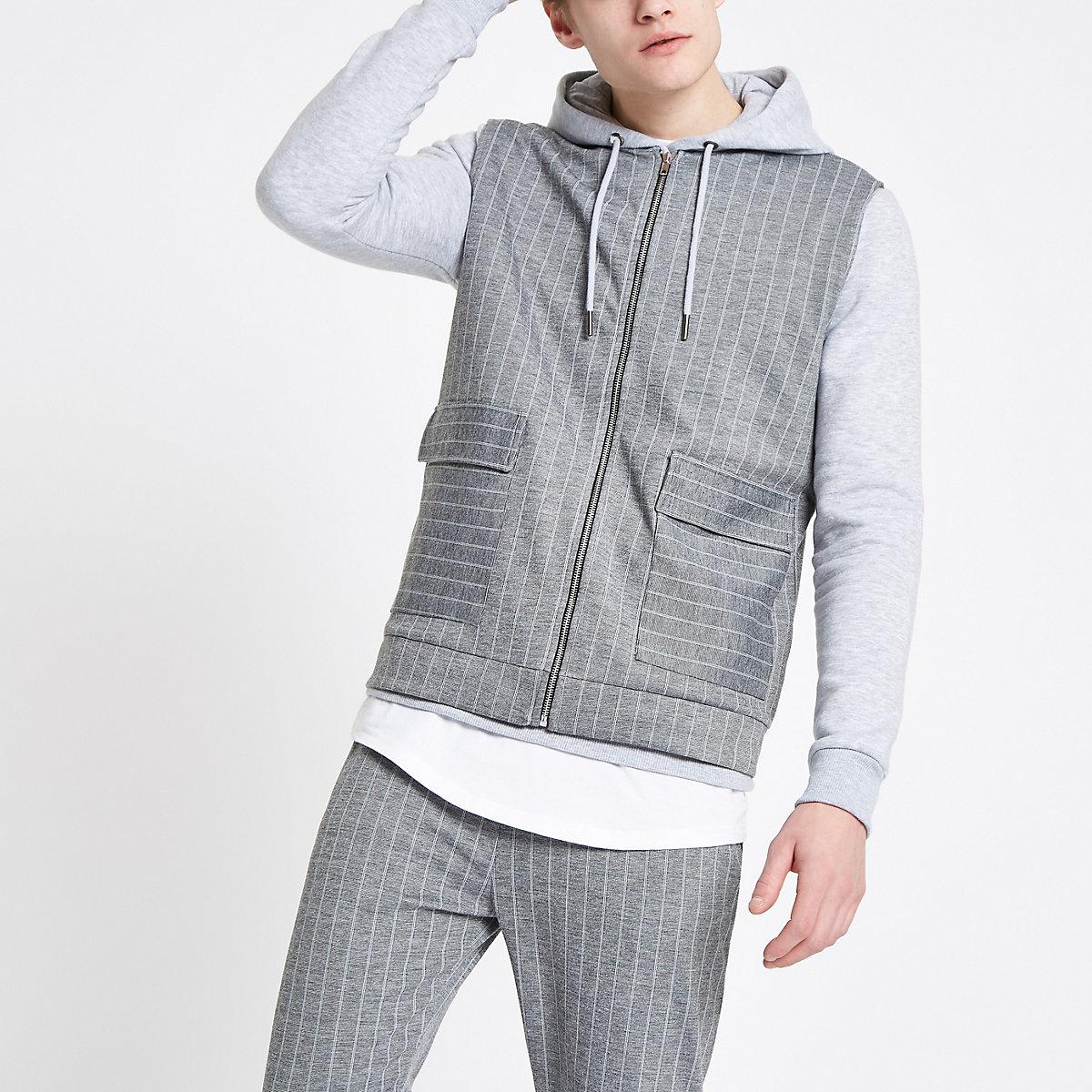 Grey pinstripe slim fit zip vest