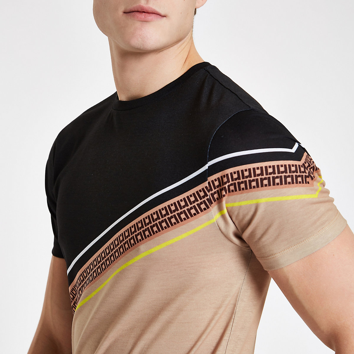 Brown RI stripe slim fit T-shirt