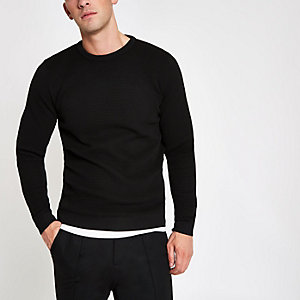 Black textured knit slim fit sweater