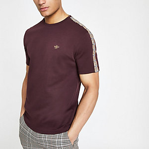 Kariertes Slim Fit T-Shirt in Bordeaux
