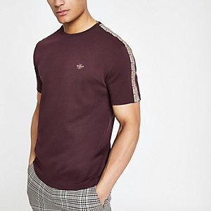 Burgundy slim fit check taped sleeve T-shirt