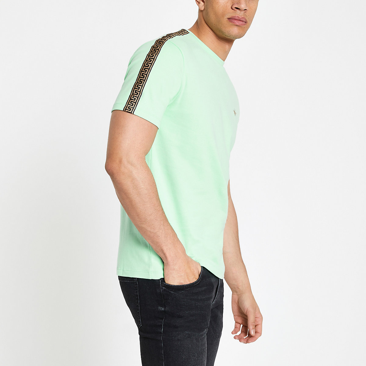 Green slim fit printed tape sleeve T-shirt