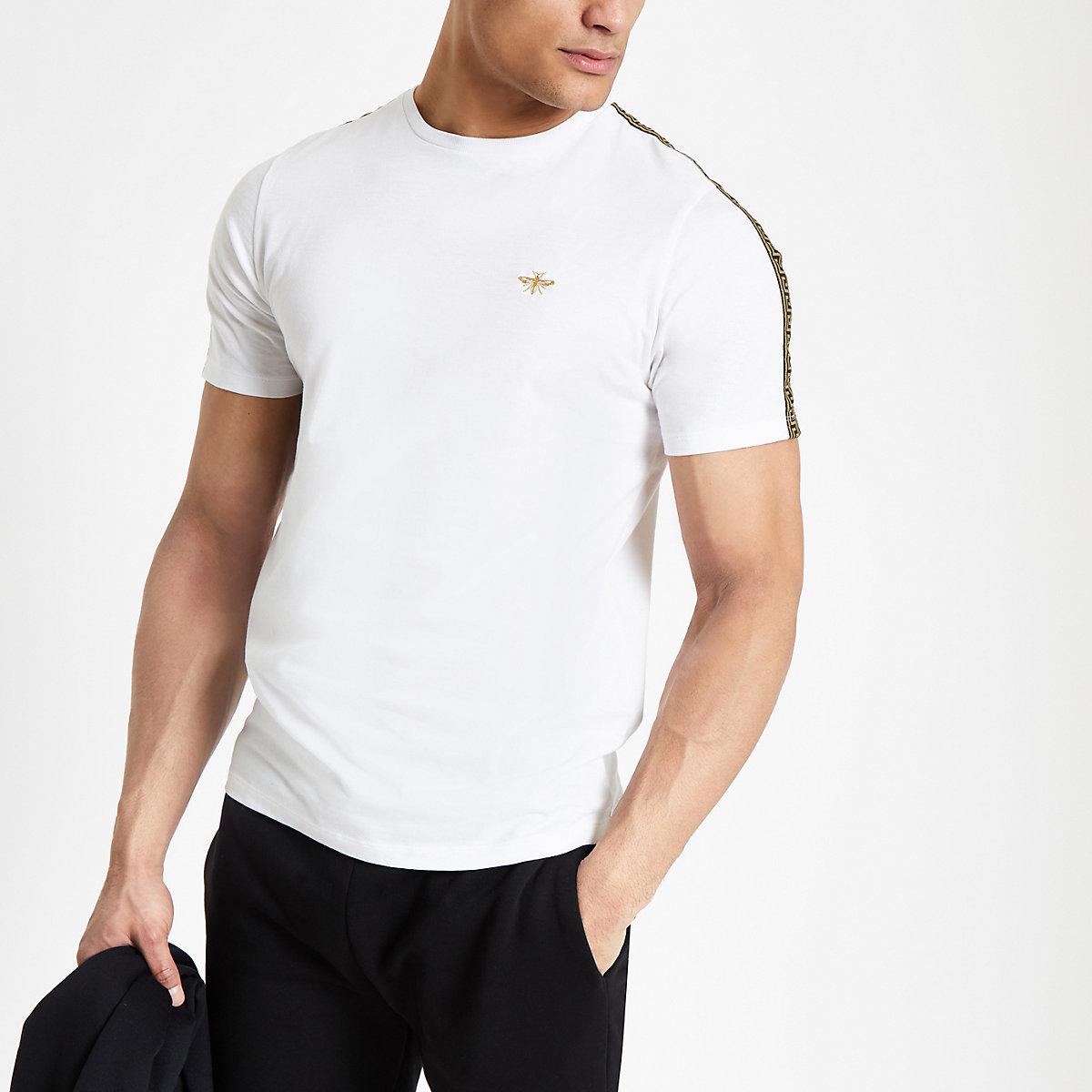 White wasp embroidered tape side T-shirt