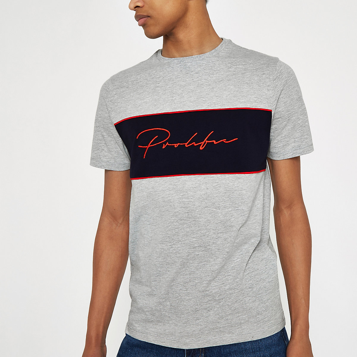 Grey marl 'Prolific' embroidered T-shirt