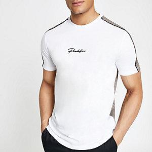 T-shirt slim blanc «Prolific» à carreaux dans le dos