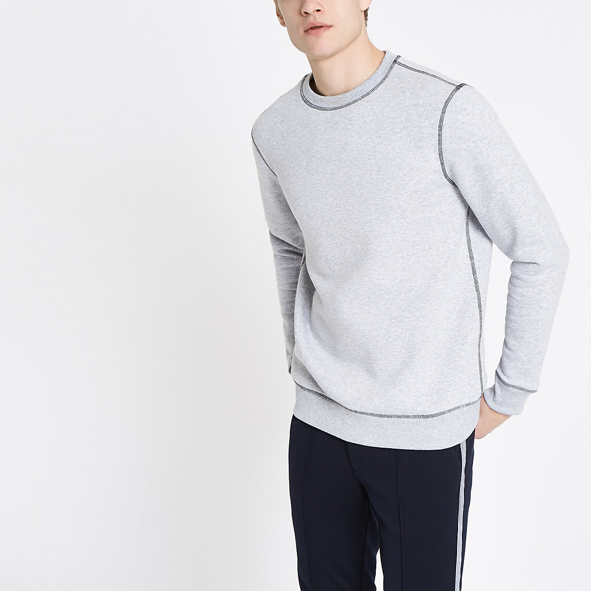 Grey marl contrast stitch slim fit sweatshirt