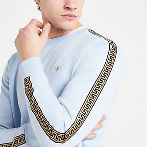 Blue wasp embroidered slim fit sweatshirt