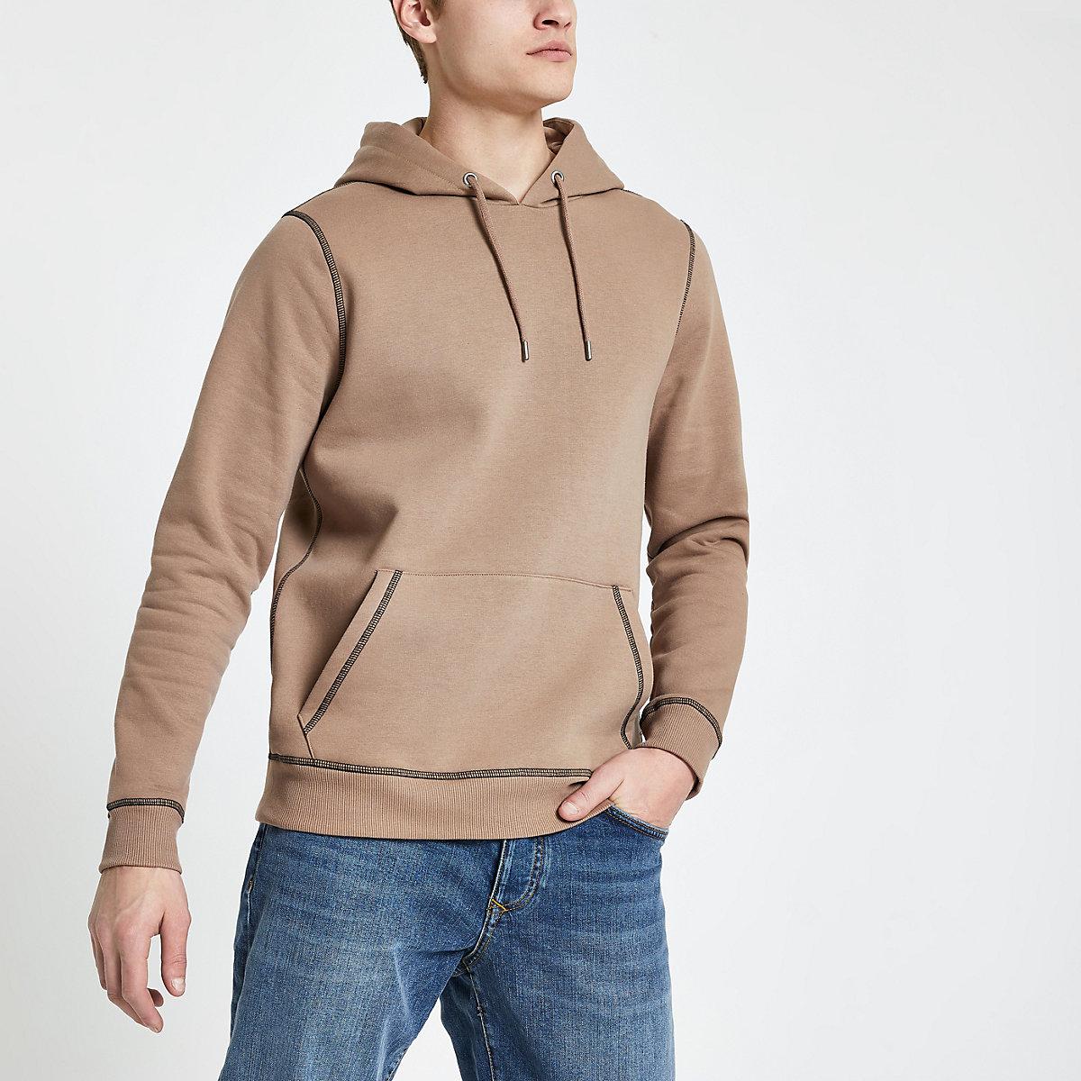 Brown contrast stitch slim fit hoodie