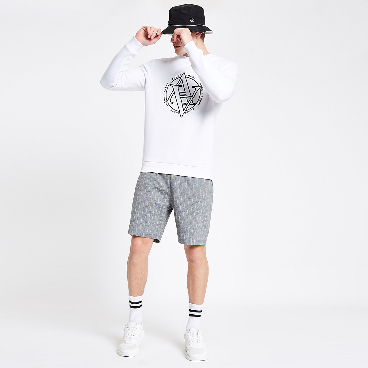 Grey pinstripe slim fit jersey shorts