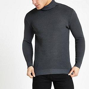 Pull slim gris texturé à col montant