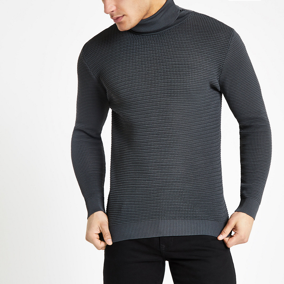 Grey textured slim fit roll neck jumper