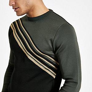 Grijze slim-fit pullover met diagonale blokprint