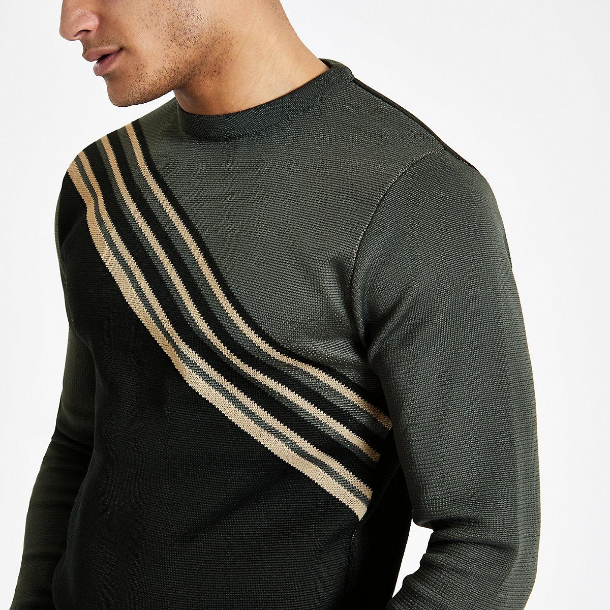 Grey diagonal block slim fit sweater
