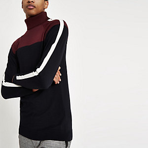 Burgundy blocked roll neck slim fit sweater