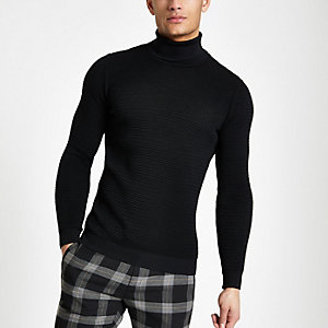 Black textured slim fit roll neck jumper