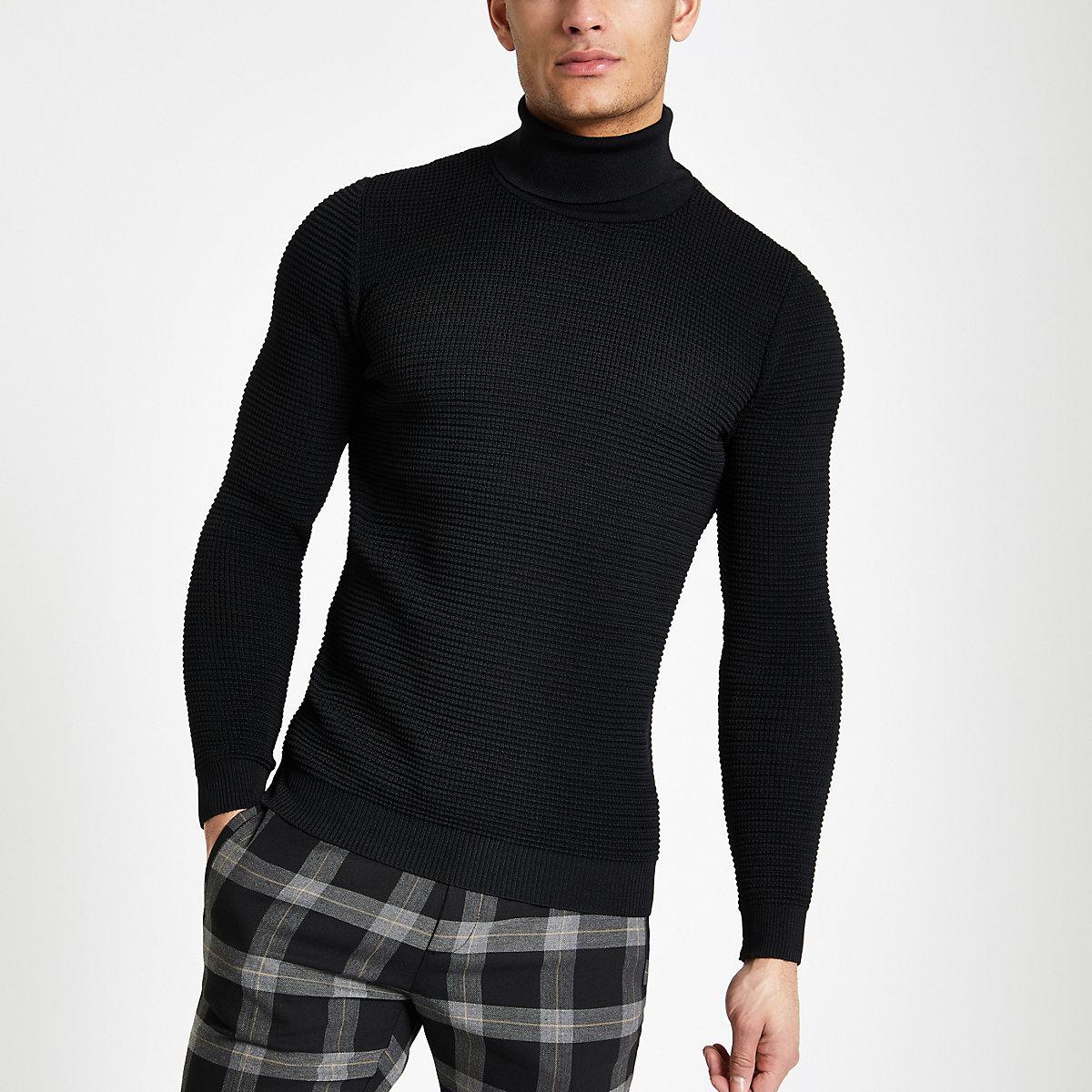 Black textured slim fit roll neck sweater
