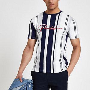 Grijs gemêleerd gestreept T-shirt met 'Prolific'-print