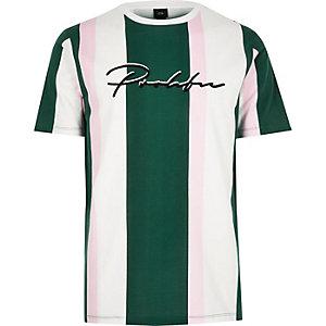 Wit gestreept slim-fit T-shirt met 'Prolific'-print