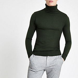 Khaki slim fit roll neck jumper