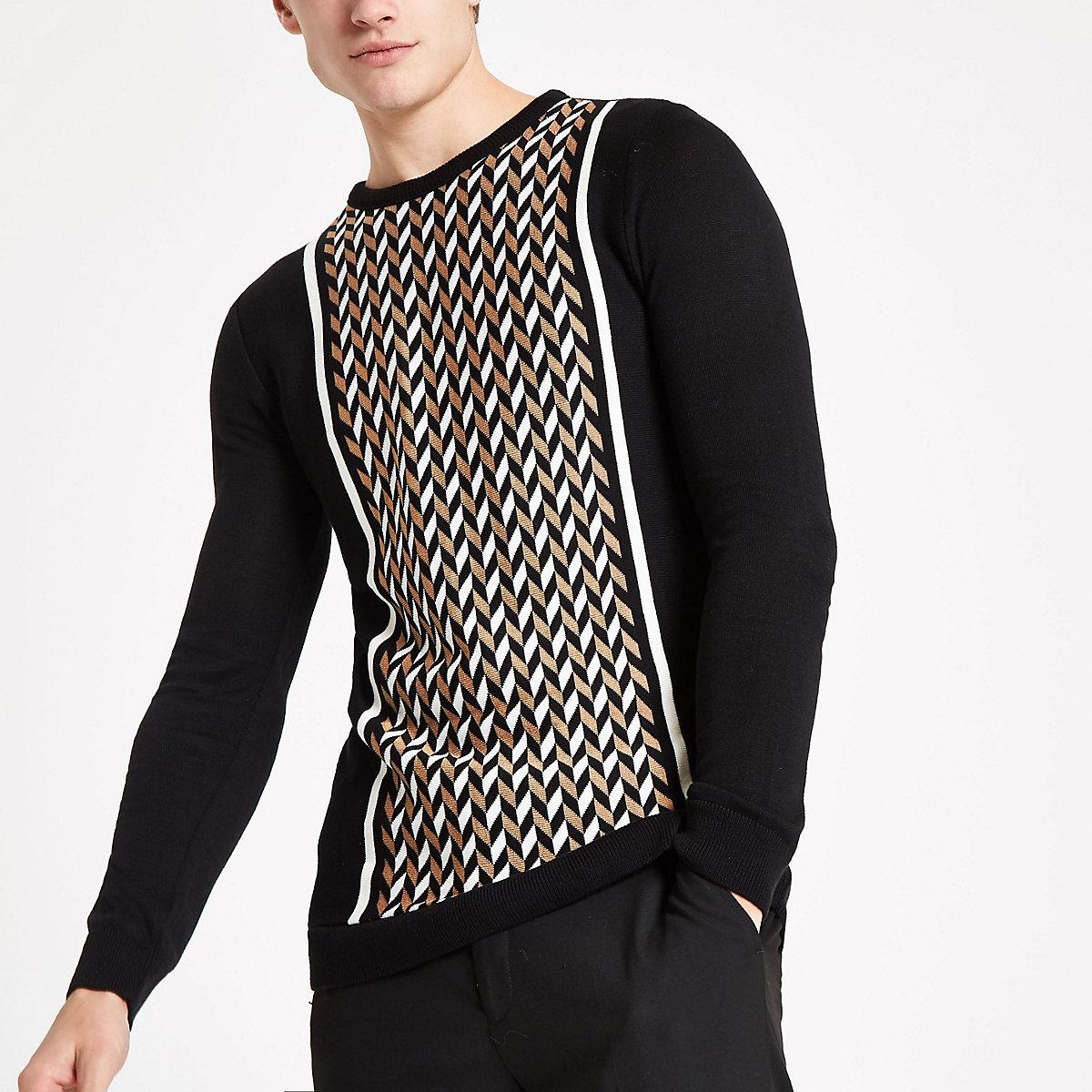 Black slim fit geo print blocked sweatshirt