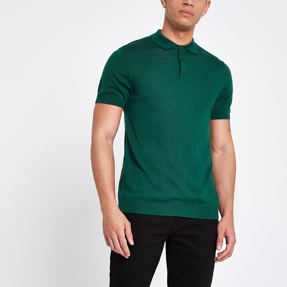 Selected Homme green knitted polo shirt