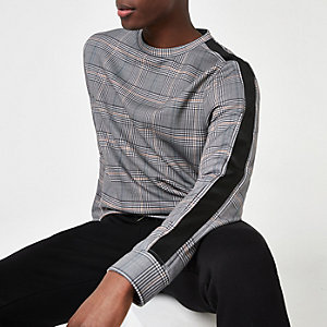 Black check slim fit sweatshirt