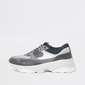 Selected Homme – Baskets de course grises à semelle épaisse