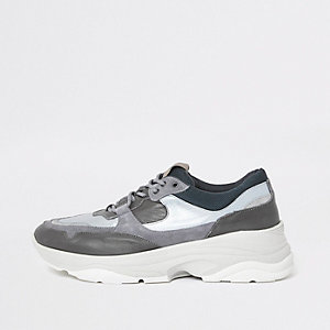 Selected Homme - Grijze sneakers met profielzool