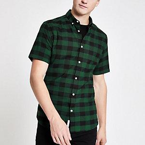 Groen geruit aansluitend overhemd met korte mouwen