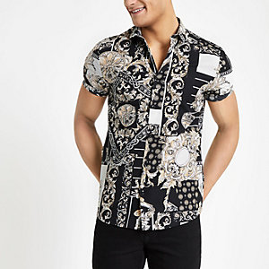 White jose print slim fit short sleeve shirt
