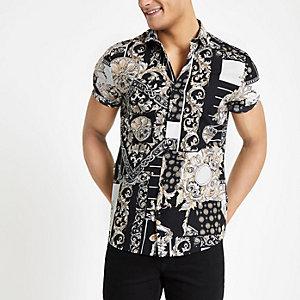 Wit slim-fit overhemd met print en korte mouwen