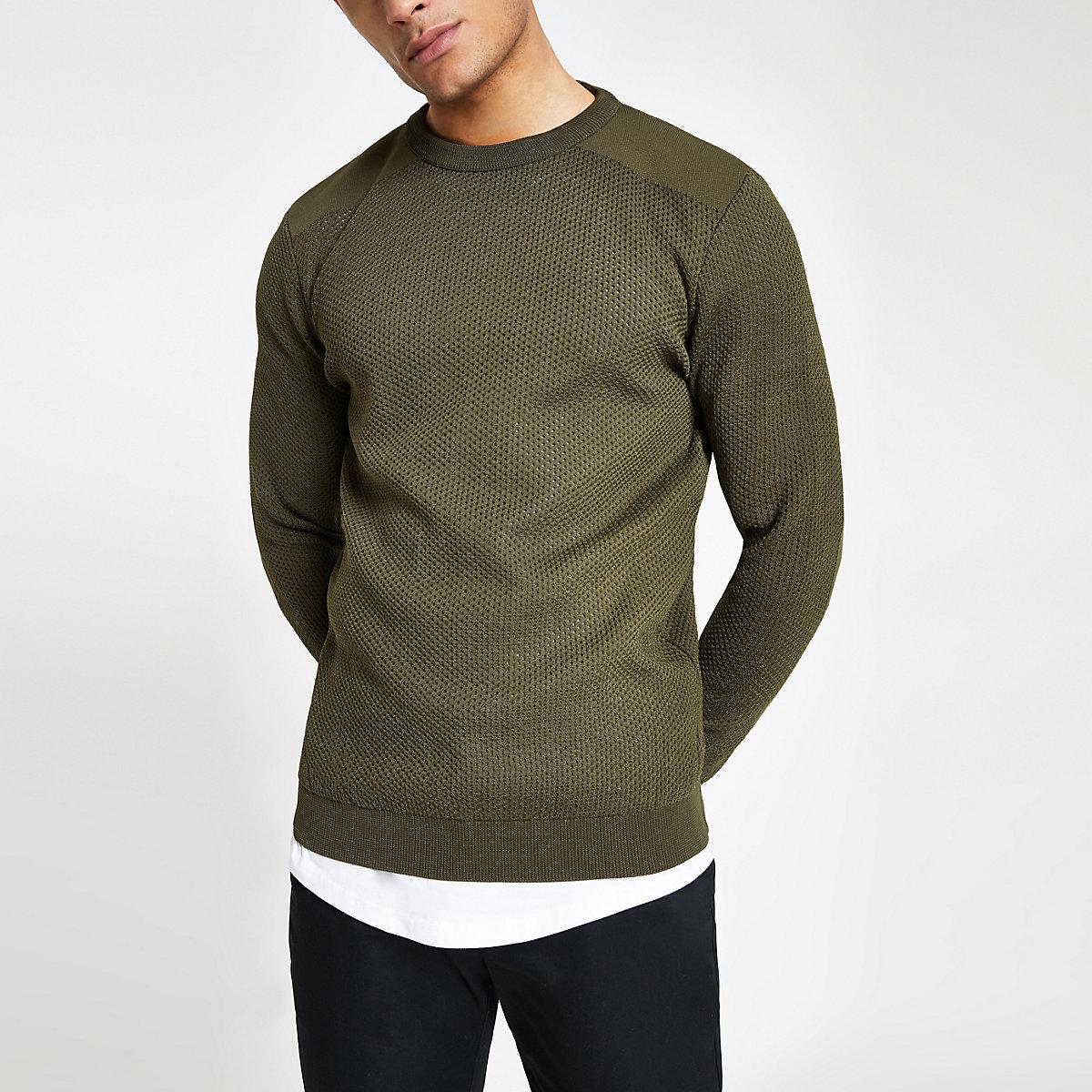 Khaki slim fit textured knit sweater