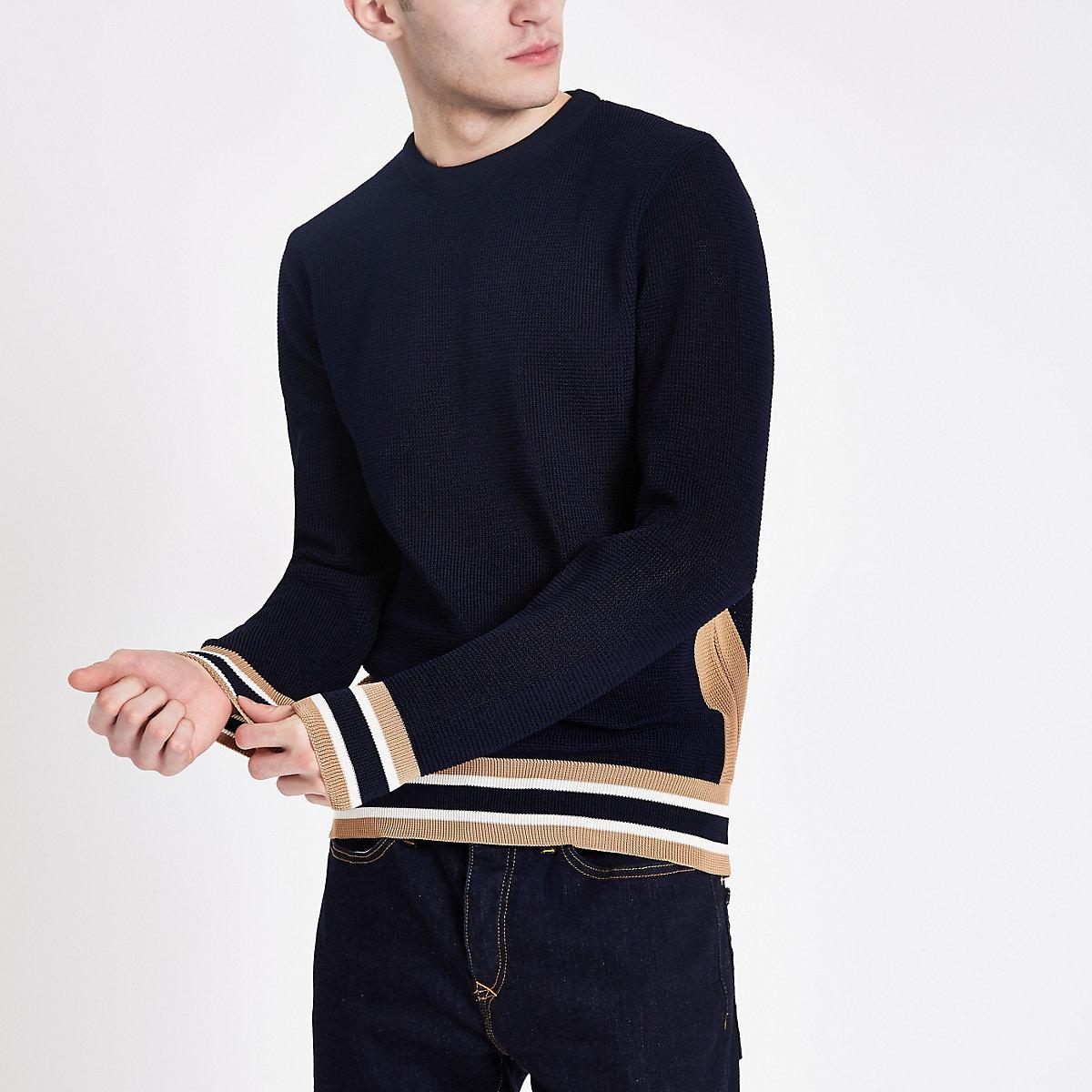 Navy textured slim fit sweater