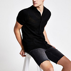 Black mesh slim fit polo shirt