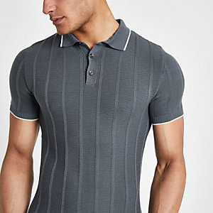 Grey knitted muscle fit polo shirt