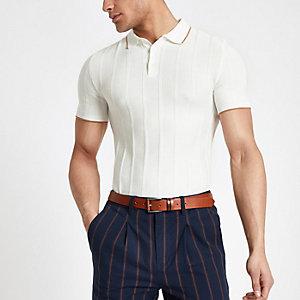 Ecru ottoman stitch muscle fit polo shirt