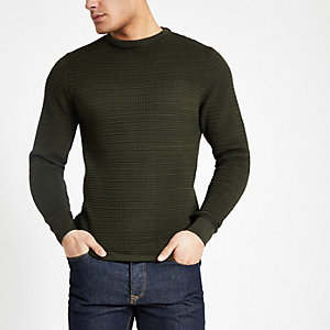 Khaki textured knit slim fit sweater